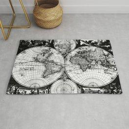 Vintage Map of The World (1685) Black & White Rug