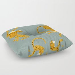 Leopard Race - blue Floor Pillow