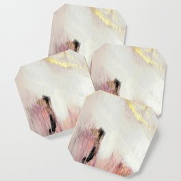 Sunrise [2]: a bright, colorful abstract piece in pink, gold, black,and white Coaster