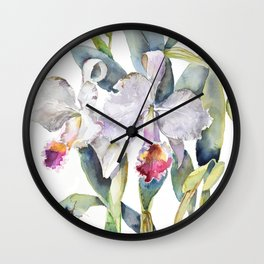 Vintage White Cattleya Orchids and Moth Poster Botanical Design Wall Clock