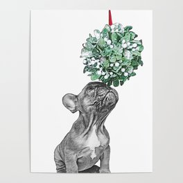 puppy and mistletoe Poster
