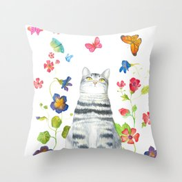 Tabby Cat with Butterflies and Flowers Throw Pillow