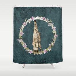 Lar Gibbon Lily Wreath Shower Curtain