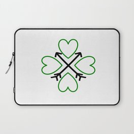 St. Patrick's Day Shamrock Lucky Charm Green Clover Veart with Arrows Laptop Sleeve