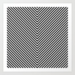 Back and White Lines Minimal Pattern Basic Art Print
