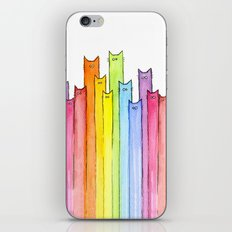 Cat Rainbow Watercolor Whimsical Animals Cats Pattern iPhone & iPod Skin