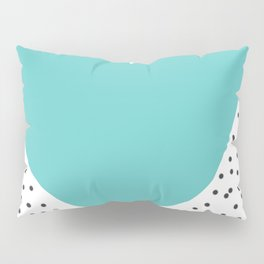 Turquoise heart with grey dots around Pillow Sham