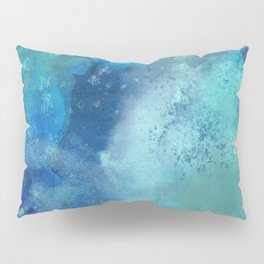 Abstract navy blue teal turquoise watercolor pattern Pillow Sham