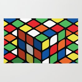 Illusion of the rubik's cube Rug
