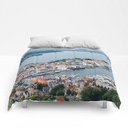 Bergen Norway From ABove Comforters