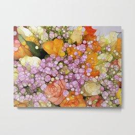 Mosaic Vintage-  Floral Spring Sparkles Metal Print