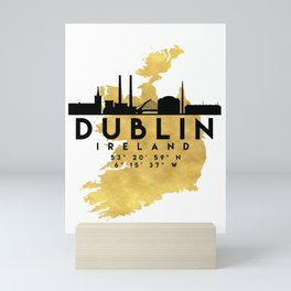 DUBLIN IRELAND SILHOUETTE SKYLINE MAP ART Mini Art Print