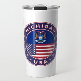 Michigan, USA States, Michigan t-shirt, Michigan sticker, circle Travel Mug