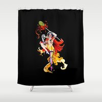 actor Shower Curtains featuring Cracked Actor (black) by Ashleigh Hungerford