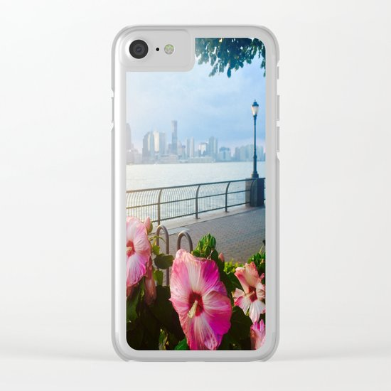 Battery Park New York City Skyline with Pink Hibiscus Flowers Clear iPhone Case
