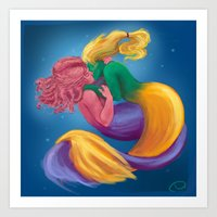 mermaids Art Prints featuring Mermaids by DeirdreEBeck