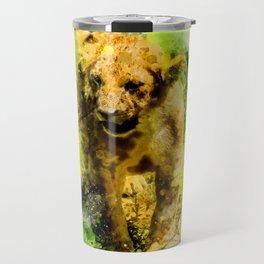 Baby lion in watercolor Travel Mug