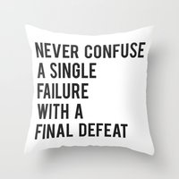 fitzgerald Throw Pillows featuring F Scott Fitzgerald - Never Confuse A Single Failure With A Final Defeat Print by StricklenPress