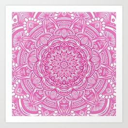 Pink Magenta Detailed Ethnic Eclectic Mandala Mandalas Art Print