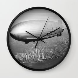 Airship Flying Over New York City Wall Clock