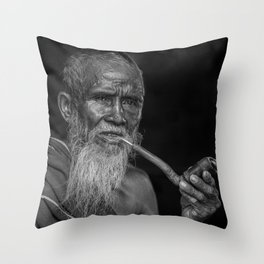 Portrait of an Elderly Man Smoking Pipe Throw Pillow