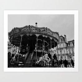 Carousel in the Square Paris France  Art Print