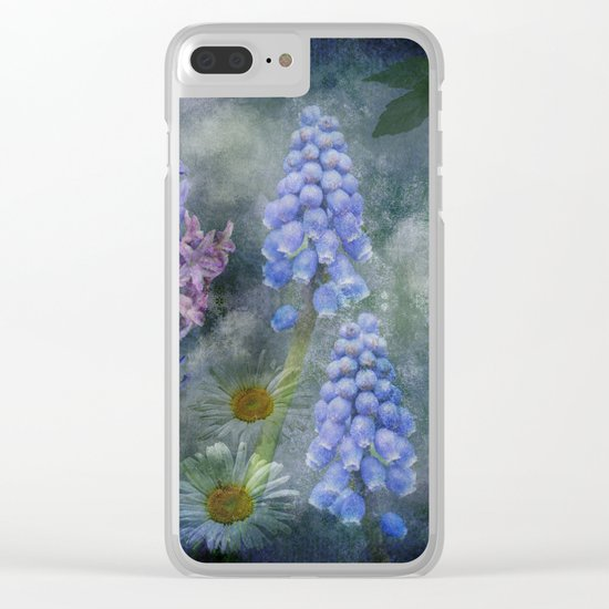 Painterly spring flowers on a grunge background Clear iPhone Case