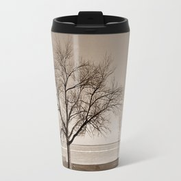 Lakeside Winter - Sepia Travel Mug