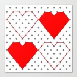 Geometric Heart Pattern Dot to Dot Canvas Print