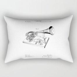 patent art Berliner Gramophone 1895 Rectangular Pillow