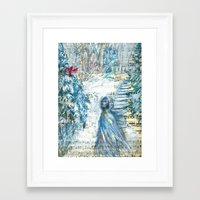 cardinal Framed Art Prints featuring Cardinal by Spinning Daydreams