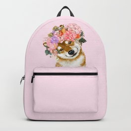 Shiba Inu with Flower Crown Backpack