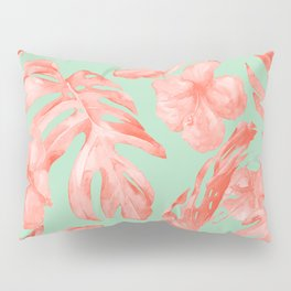 Island Life Coral Pink + Pastel Green Pillow Sham