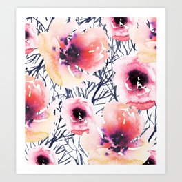 Roses on Sticks Art Print