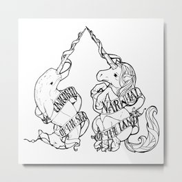 Unicorn of the Sea/Narwhal of the Land Metal Print