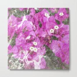 Pink flowers marble Metal Print