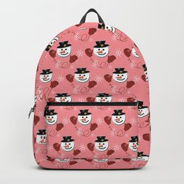 Holiday Snowman Pattern Red Background Backpack