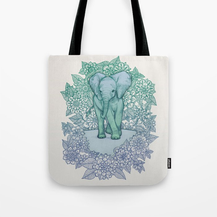 Emerald Elephant in the Lilac Evening Tote Bag
