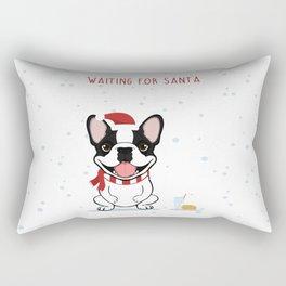 French Bulldog Waiting for Santa - Brindle Pied Edition Rectangular Pillow