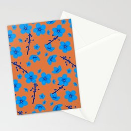 Blue and orange blossoms Stationery Cards