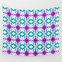 kurt rahn Wall Tapestries featuring Kurt - Symmetrical Digital Art in Aqua, Purple and White by Renee Dillon Art