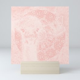 Ghostly alpaca and butterfly with mandala in Rose Quartz Mini Art Print