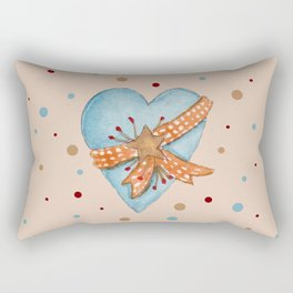 Country Heart And Polka Dots Watercolor Rectangular Pillow