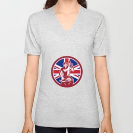 British Blacksmith Union Jack Flag Icon Unisex V-Neck