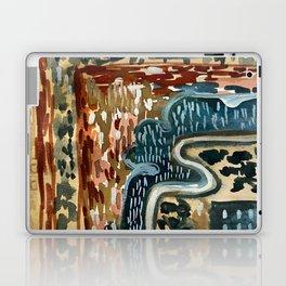 Vintage Kilim Rust and Indigo Handpainted Rug Square Laptop & iPad Skin
