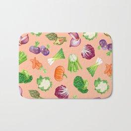 Peach pink veggies illustration pattern | Vegetables pattern Bath Mat