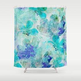 blue turquoise mixed media flower illustration Shower Curtain