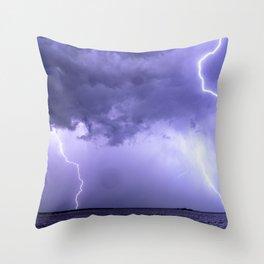 Quadruple Lightning Strike Throw Pillow