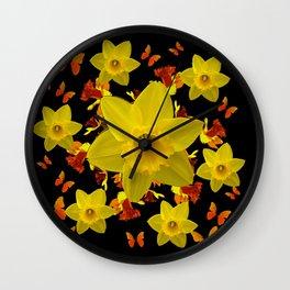 Decorative Black Design Butterflies Yellow Daffodils Wall Clock