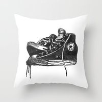 sneakers Throw Pillows featuring sneakers by Cardula